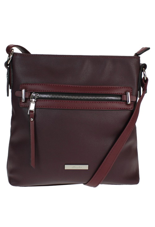 Hampton Burgandy Zip X-body Bag