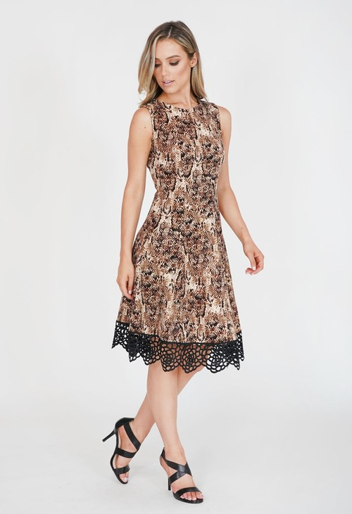 Donna Ricco Snake Print Lace Hem Detail Dress