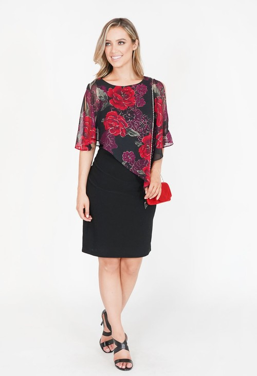 Scarlett Red Floral Mesh Cape Dress