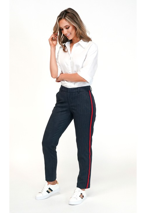 Liverpool Blue Trousers With Side Stripe