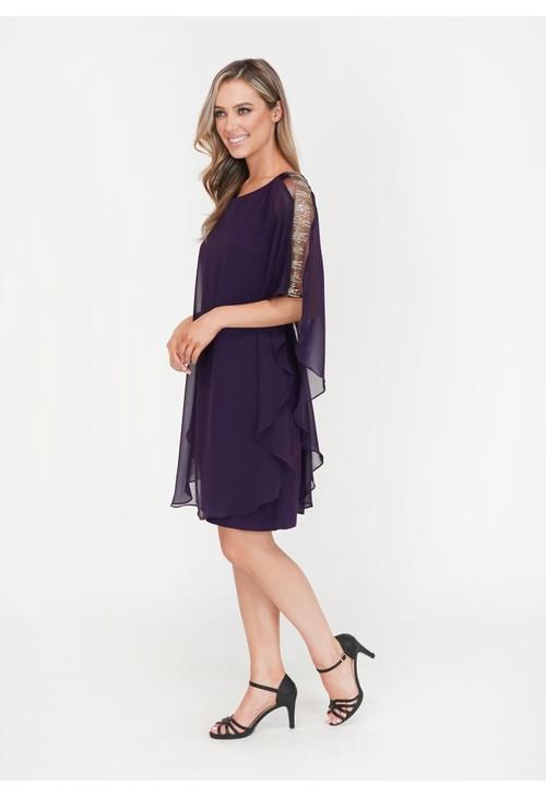 Scarlett Eggplant Diamante Detail Cape Mesh Dress