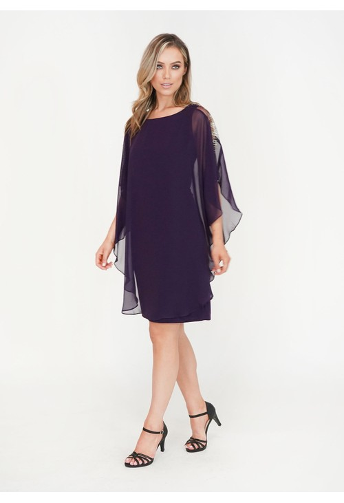 Scarlett Eggplant Diamante Detail Cape Mesh Dress