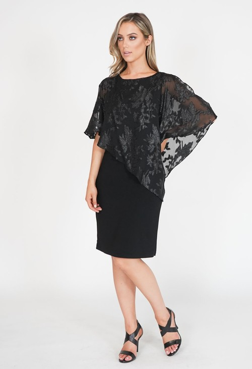 Scarlett Black Metallic Leaf Pattern Cape Dress
