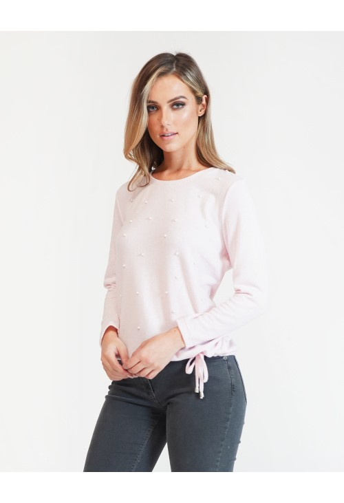 Twist Pearl Detail Pink Pullover