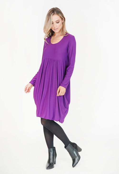 Pamela Scott Purple Drape Long Sleeve Dress