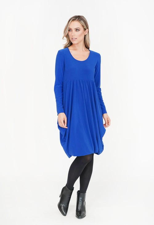 Pamela Scott Royal Blue Drape Long Sleeve Dress