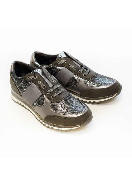 Marco Tozzi Dark Grey Metallic Trainer
