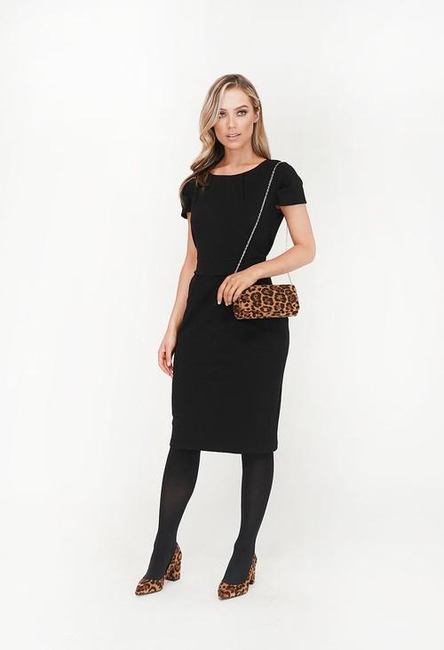 Zapara Black Side Pocket Detail Pencil Dress