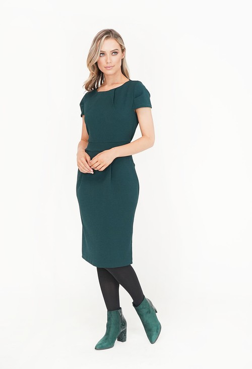 Zapara Green Pocket Detail Pencil Dress