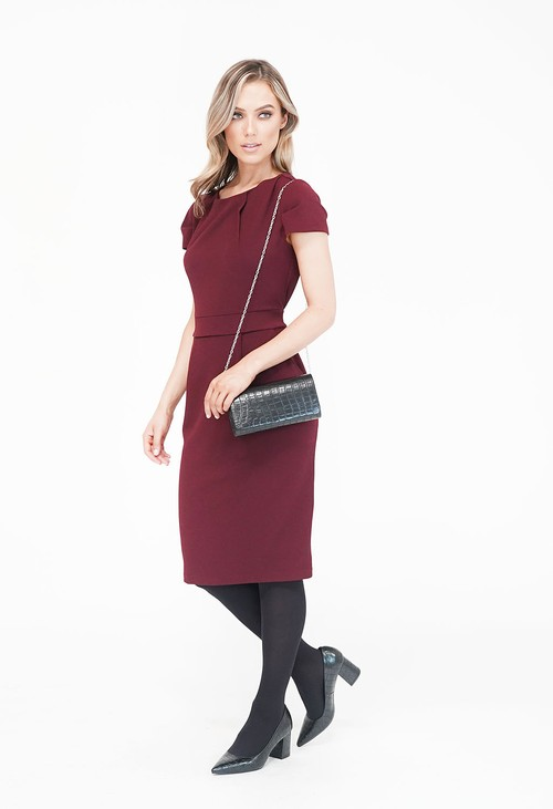Zapara WINE POCKET DETAIL PENCIL DRESS