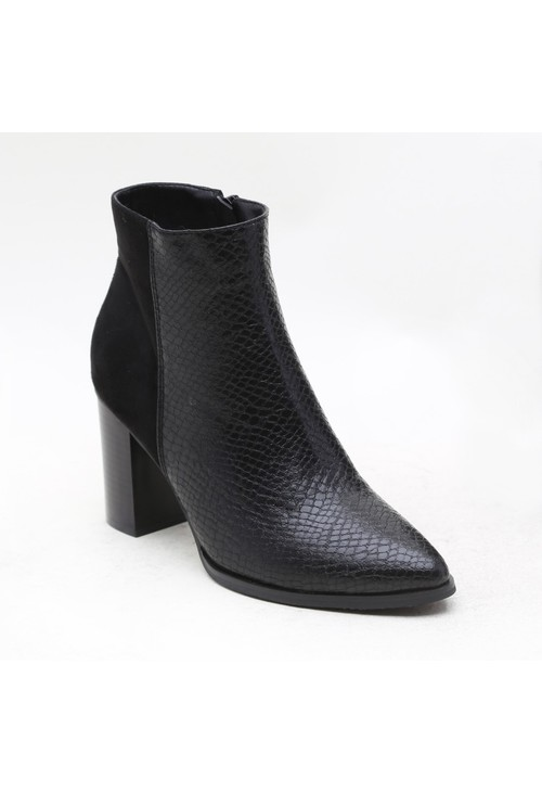super mode Black Suede & Crocodile Print Block Heeled Boot