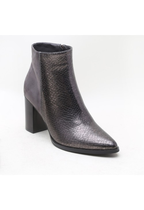 Pamela Scott Grey Suede & Crocodile Print Block Heeled Boot