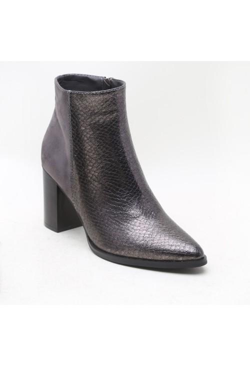 Pamela Scott Grey Suede & Crocodile Print Block Heeled Boot