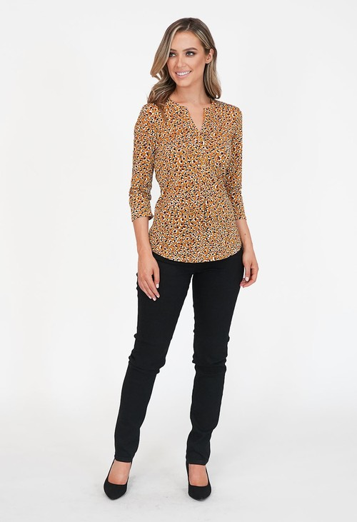 Pamela Scott Mustard V Neck Top