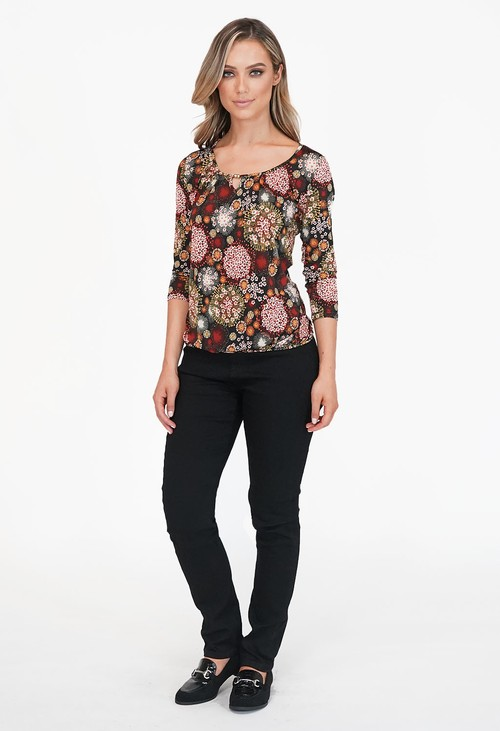 Zapara Brown Print Top