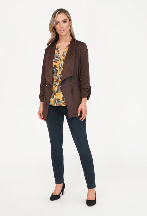 Sophie B Chocolate Brown Drawstring Effect Jacket