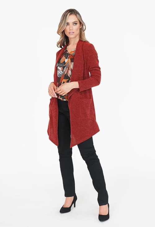Sophie B Bordeaux Long Open Knit Cardigan