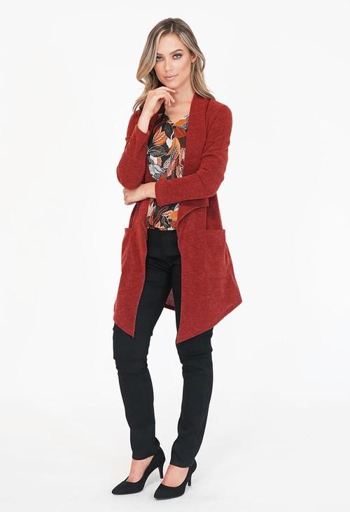 Sophie B Bordeaux Long Open Knit Cardigan