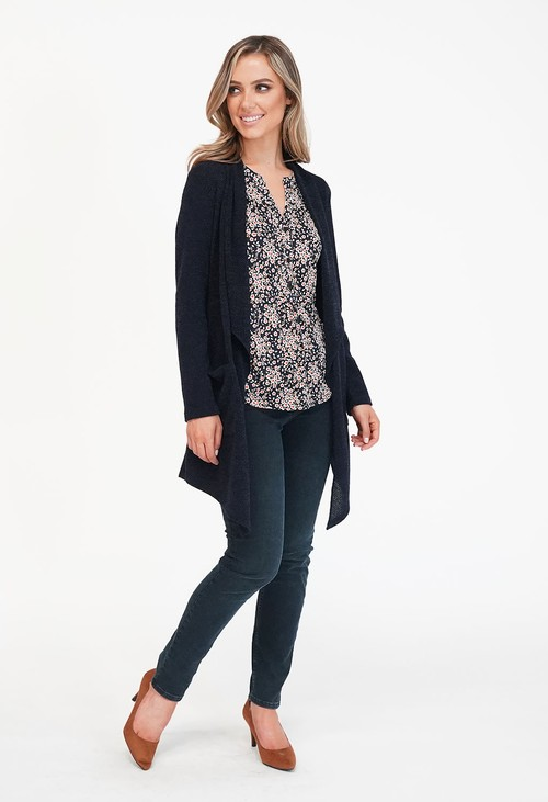Sophie B Navy Long Open Knit Cardigan