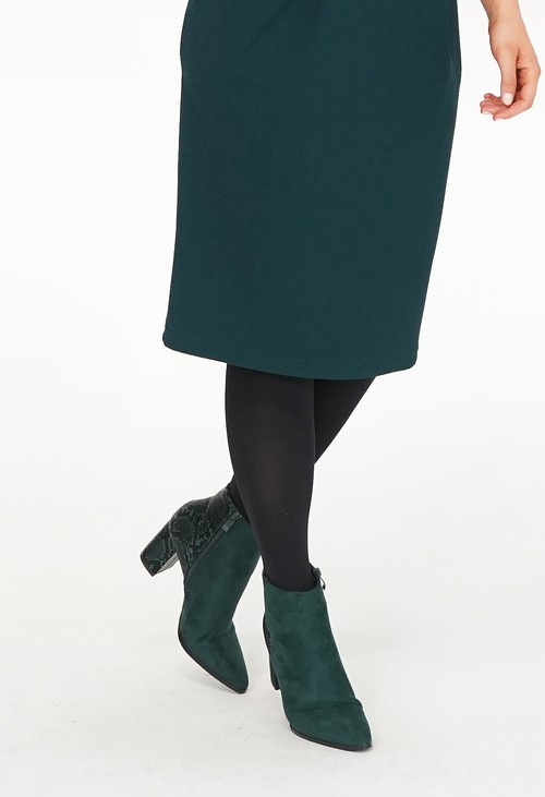 Pamela Scott Dark Grey Suede Snake Pattern Heel Boots