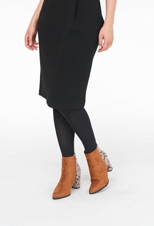 Pamela B Tan Suede Snake Pattern Heel Boots