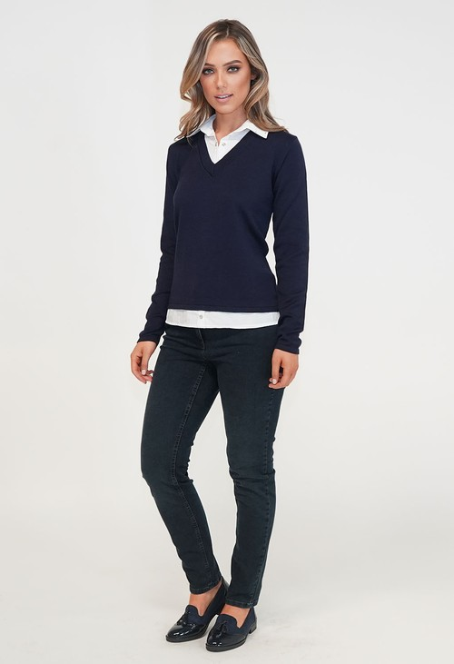 Twist Navy 2 in 1 Shirt and Knit