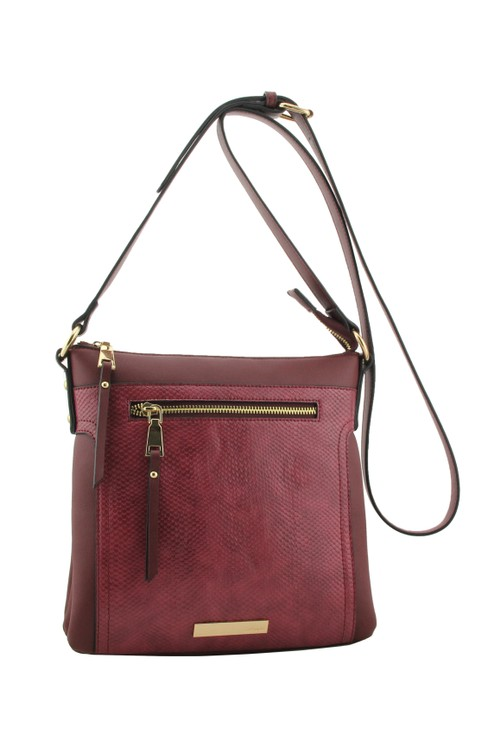 Hampton Berry Snake Zip Panel Handbag