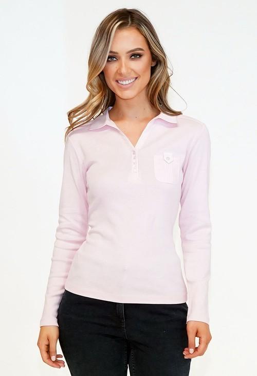 Twist Pink Button Detail Polo Top