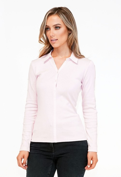Twist Pink Poplin Collar with Button Detail Knit