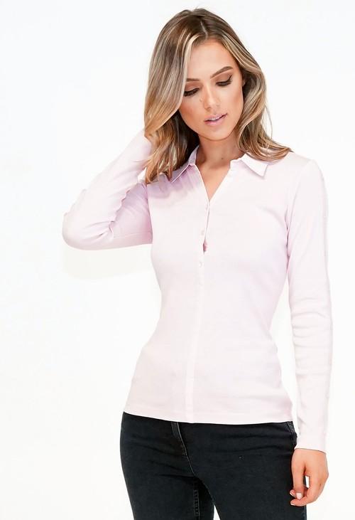 Twist Pink Poplin Collar with Button Detail Knit