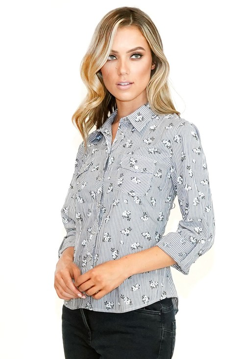 Twist Grey Floral and Stripe Shirt
