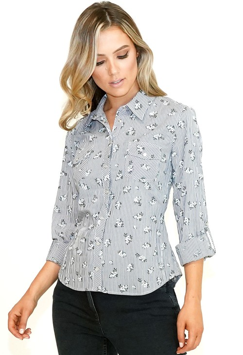Twist Grey Floral and Stripe Shirt