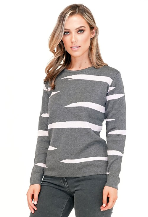 Twist Grey and Pink Pattern Pullover