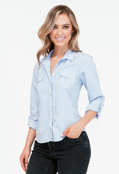Twist Blue and White Wide Stripe Shirt