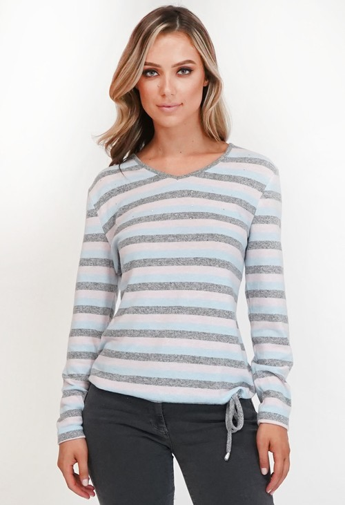 Twist Stripe Pullover with Diamante Detail