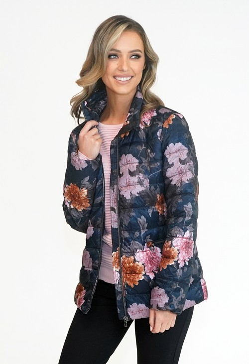 Twist Featherlite Autumn Flower Soft Quilt Zip Jacket