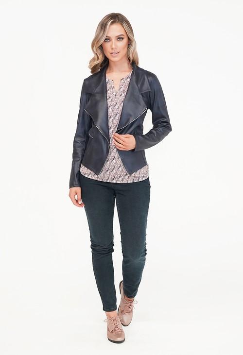 Sophie B Navy Biker Style Zip Detail Jacket