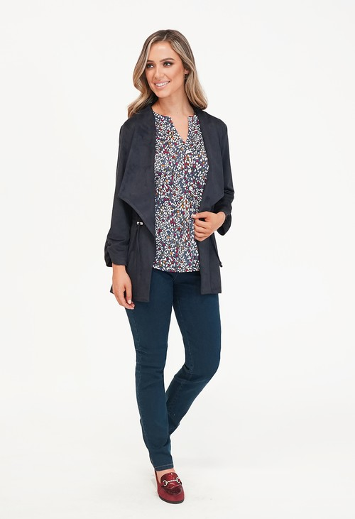 Sophie B Navy Suede Effect drawstring Jacket