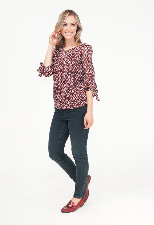 Zapara Bordeaux Geo Pattern Print Sweetheart Blouse