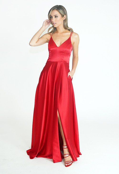 My Michelle Red Sherri Long Dress
