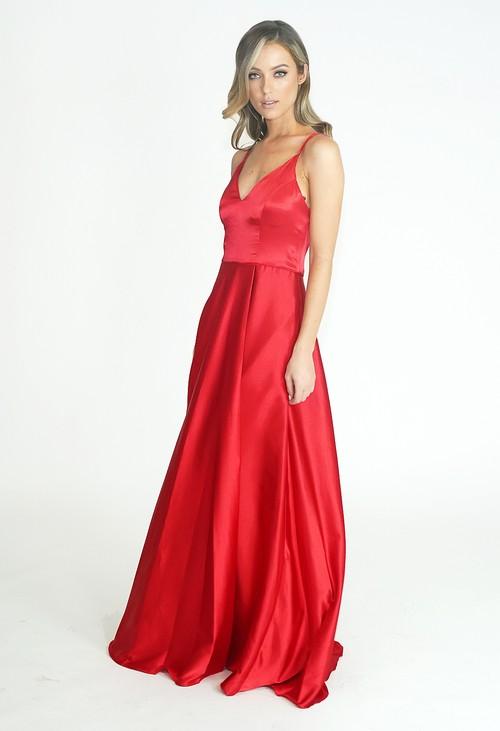 My Michelle Red Sherri Long Dress