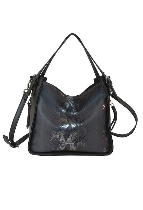 Gionni Pewter Python Textured Handbag
