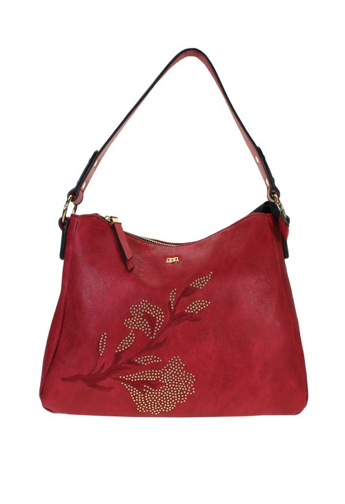 Gionni Red Embroidered Bag