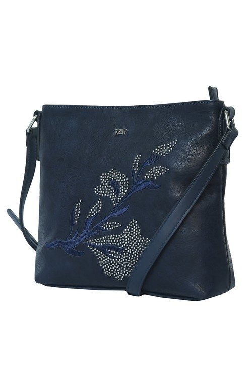 Gionni Navy Embroidered Cross Body Bag