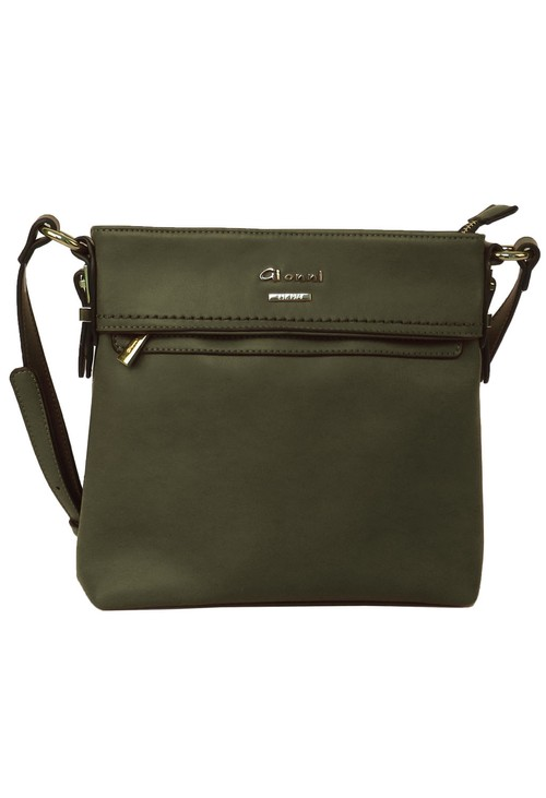 Gionni Khaki Front Zip X-body Bag