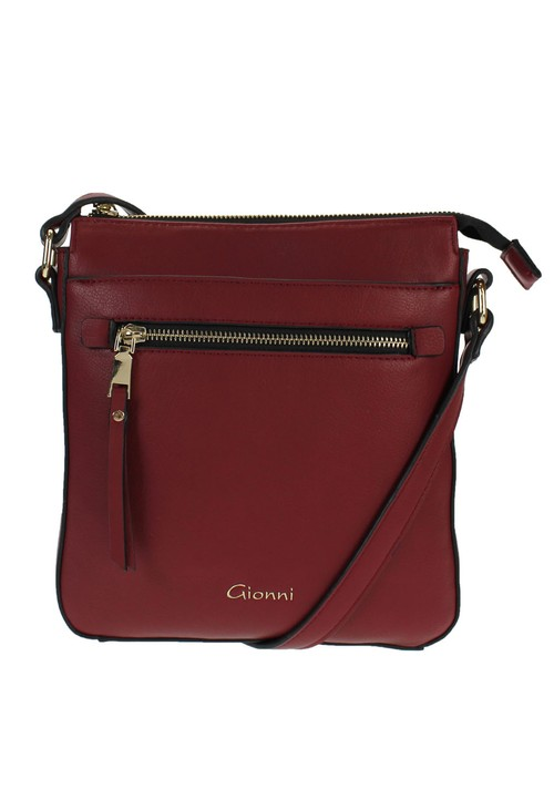 Gionni Burgundy Front Zip Cross Body Bag