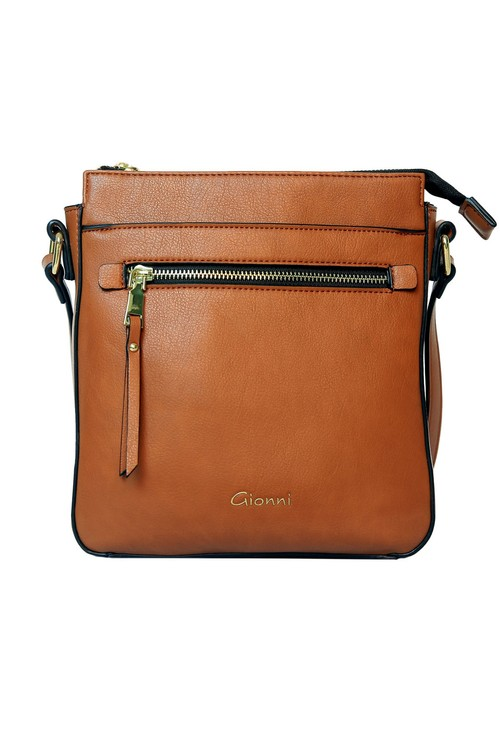Gionni Tan Front Zip Cross Body Bag