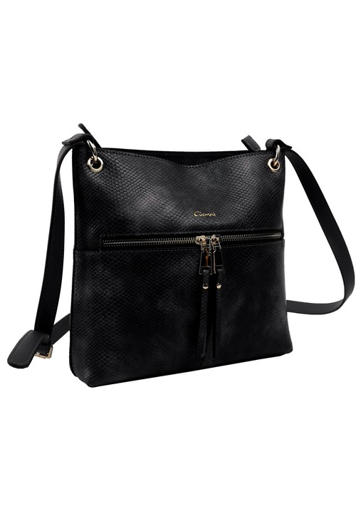 Gionni Black Texture Cross Body Bag