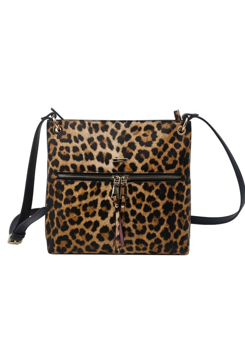 Gionni Leopard Animal Print X-body Bag