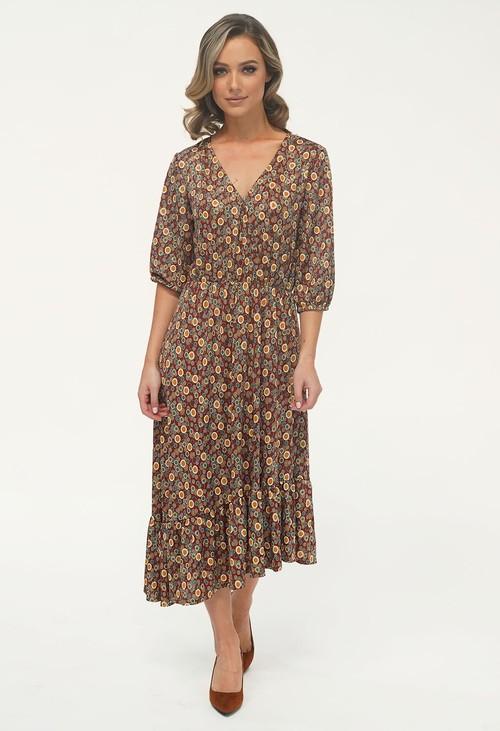 Zapara Rust/Gold Pattern Asymmetric Midi Dress